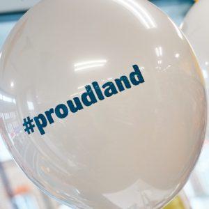 Image of balloon with Proudland hashtag
